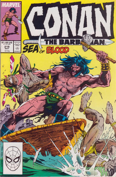 Cover for Conan the Barbarian (Marvel, 1970 series) #218 [Newsstand Edition]