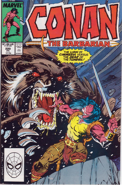 Cover for Conan the Barbarian (Marvel, 1970 series) #220 [Newsstand Edition]