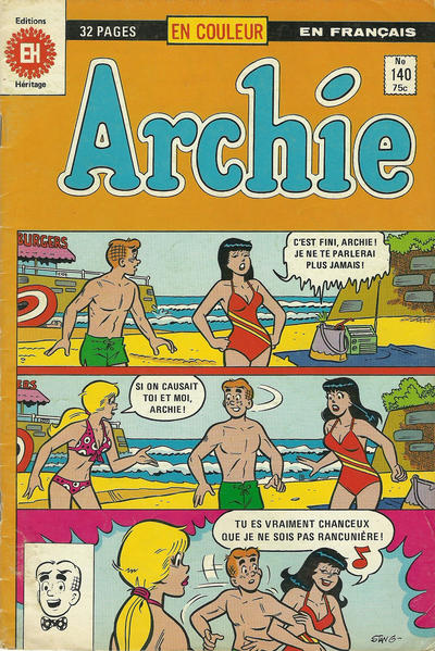 Cover for Archie (Editions Héritage, 1971 series) #140