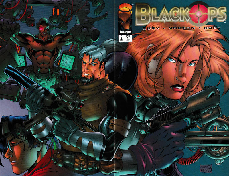 Cover for Black Ops (Image, 1996 series) #5 [H.E.A.T.E.R.S. Cover - Johnson]