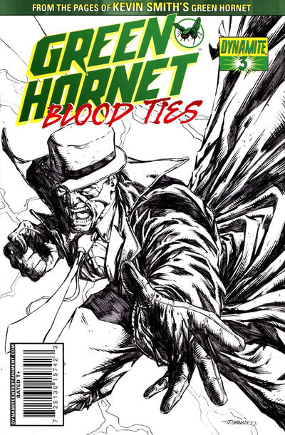 "Cover for Green Hornet: Blood Ties (Dynamite Entertainment, 2010 series) #3 [""Black, White & Green"" Retailer Incentive Cover]"