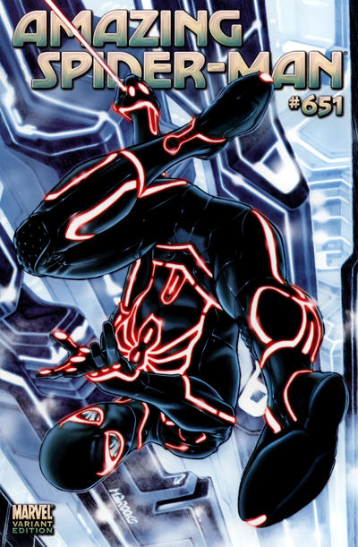 Cover for The Amazing Spider-Man (Marvel, 1999 series) #651 [Tron Variant Cover]