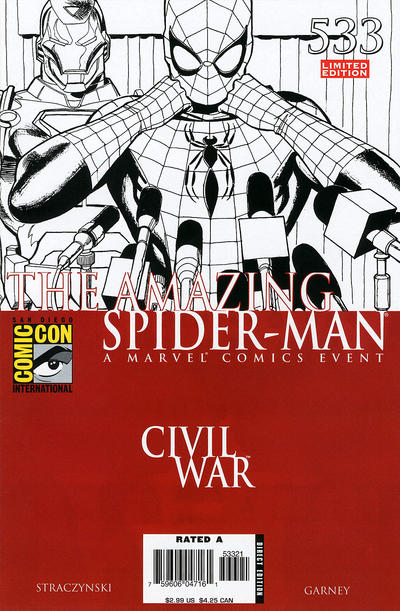 Cover for The Amazing Spider-Man (Marvel, 1999 series) #533 [2006 SDCC Exclusive Limited Edition Black and White Variant]