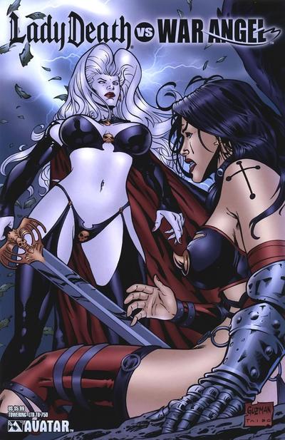 Cover for Brian Pulido's Lady Death vs War Angel (Avatar Press, 2006 series) #1 [Platinum Foil]