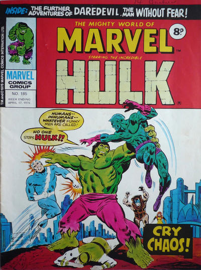 Cover for The Mighty World of Marvel (Marvel UK, 1972 series) #185