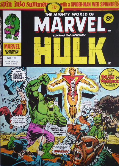 Cover for The Mighty World of Marvel (Marvel UK, 1972 series) #192
