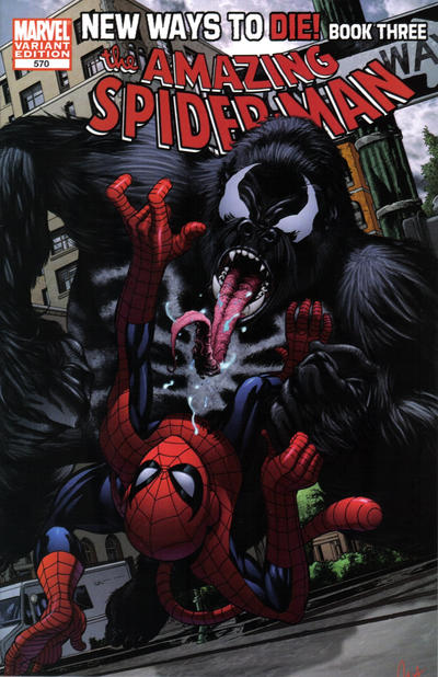 Cover for The Amazing Spider-Man (Marvel, 1999 series) #570 [2nd Printing John Romita Jr Wraparaound Variant]