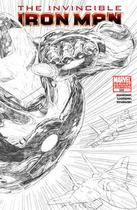 Cover Thumbnail for Invincible Iron Man (Marvel, 2008 series) #500 [Variant Edition - Black-and-White Joe Quesada]