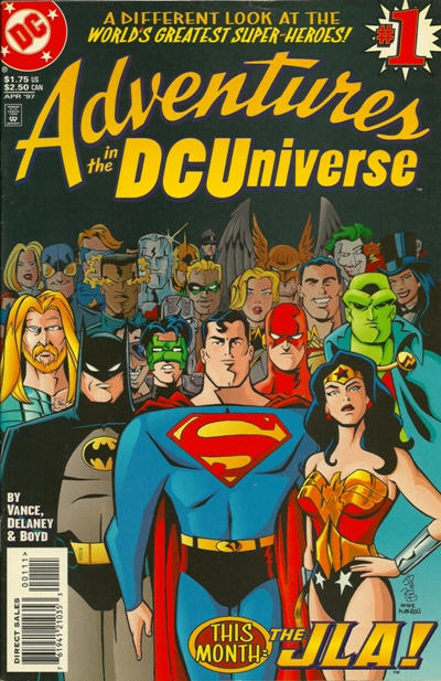 Cover for Adventures in the DC Universe (DC, 1997 series) #1 [Newsstand]