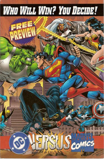 Cover for DC Versus Marvel / Marvel Versus DC Consumer Preview (DC, 1995 series) #[nn] [2nd printing]