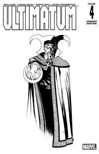 Cover Thumbnail for Ultimatum (Marvel, 2009 series) #4 [Dr. Strange Black-and-White Variant Cover]