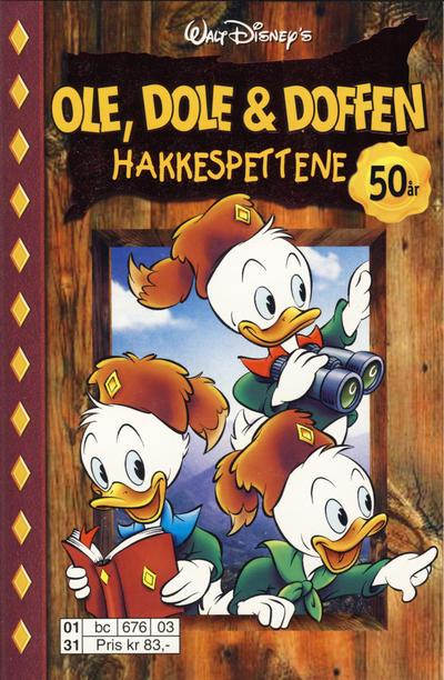 Cover for Donald Duck Tema pocket; Walt Disney's Tema pocket (Hjemmet / Egmont, 1997 series) #Ole, Dole & Doffen Hakkespettene 50 år