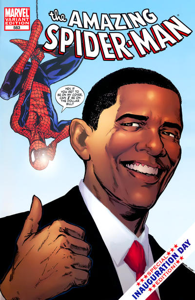 Cover for The Amazing Spider-Man (Marvel, 1999 series) #583 [1st print Barack Obama Variant Cover]