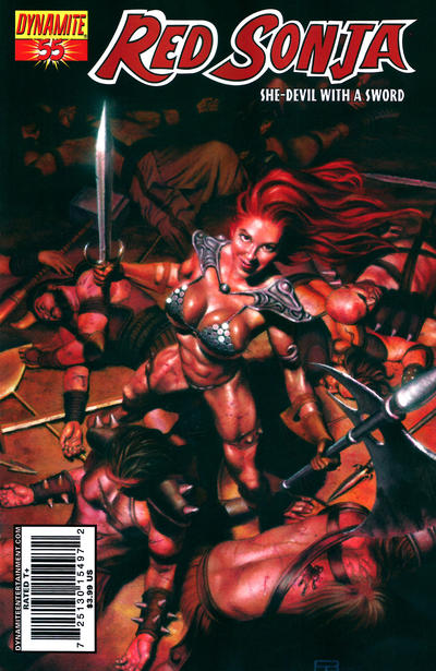 Cover for Red Sonja (Dynamite Entertainment, 2005 series) #55 [Cover A Patrick Berkenkotter]