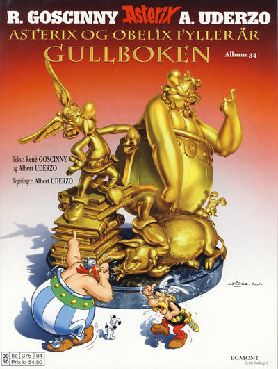 Cover for Asterix (Hjemmet / Egmont, 1969 series) #34 - Asterix og Obelix fyller år - Gullboken