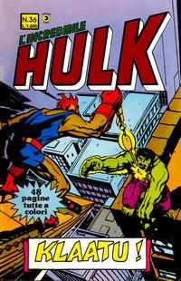 Cover Thumbnail for L'Incredibile Hulk (Editoriale Corno, 1980 series) #36