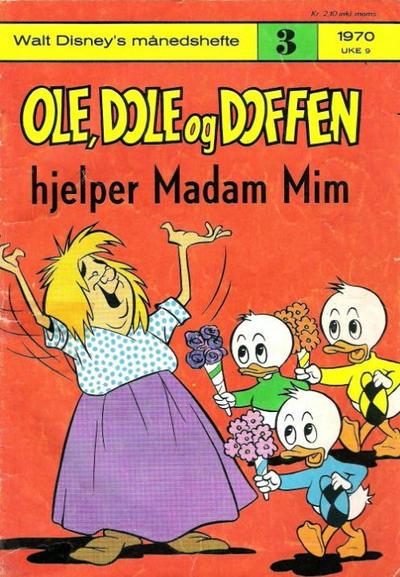 Cover for Walt Disney's Månedshefte (Hjemmet / Egmont, 1967 series) #3/1970