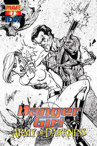 Cover Thumbnail for Danger Girl and the Army of Darkness (Dynamite Entertainment, 2011 series) #1 [J. Scott Campbell Black & White Retailer Incentive Cover]