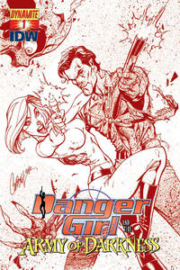 Cover Thumbnail for Danger Girl and the Army of Darkness (Dynamite Entertainment, 2011 series) #1 [J. Scott Campbell Dangerous Red Retailer Incentive Cover]