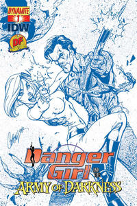 Cover Thumbnail for Danger Girl and the Army of Darkness (Dynamite Entertainment, 2011 series) #1 [J. Scott Campbell Deadite Blues Dynamic Forces Exclusive Cover]