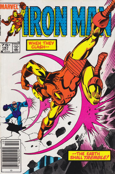 Cover for Iron Man (Marvel, 1968 series) #187 [60¢ cover (Newsstand Edition)]
