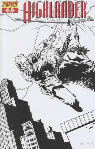 Cover for Highlander (Dynamite Entertainment, 2006 series) #5 [Black-and-White Retailer Incentive Cover]