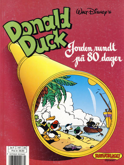 Cover for Donald Duck album (Hjemmet / Egmont, 1985 series) #[5] - Jorden rundt på 80 dager [Reutsendelse bc-F 147 34]