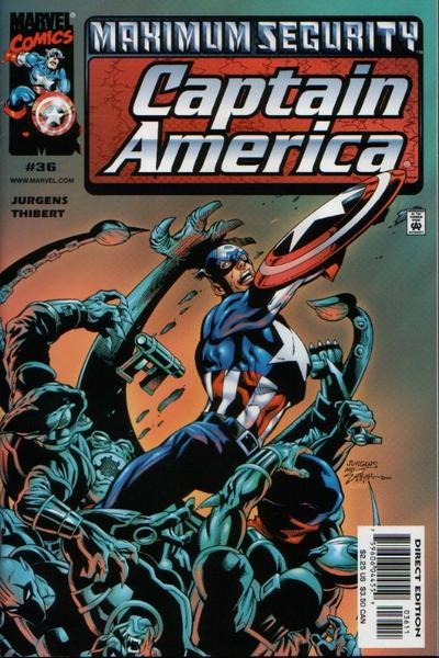 Cover for Captain America (Marvel, 1998 series) #36 [Direct Edition]