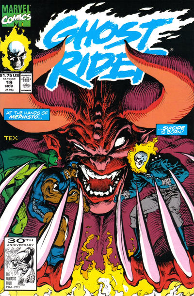 Cover for Ghost Rider (Marvel, 1990 series) #19 [Direct Edition]