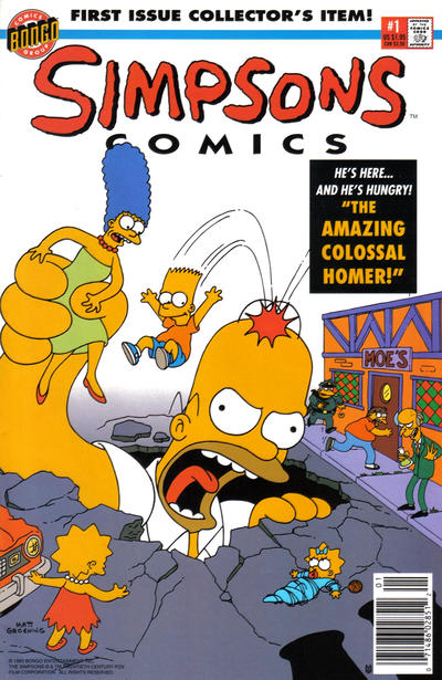 Cover for Simpsons Comics (Bongo, 1993 series) #1 [Newsstand Edition]