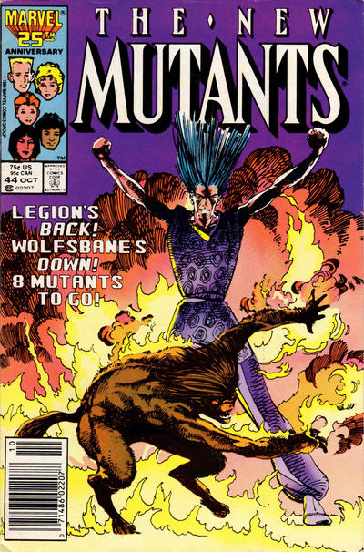 Cover for The New Mutants (Marvel, 1983 series) #44 [Newsstand Edition]