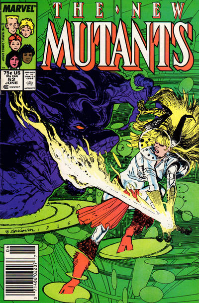 Cover for The New Mutants (Marvel, 1983 series) #52 [Newsstand Edition]