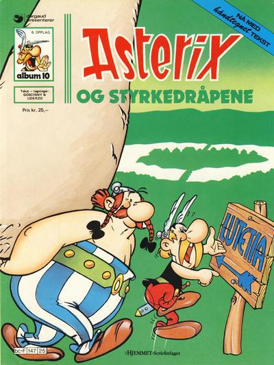 Cover for Asterix (Hjemmet / Egmont, 1969 series) #10 - Asterix og styrkedråpene [5. opplag Reutsendelse 147 25]