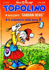 Cover Thumbnail for Topolino (The Walt Disney Company Italia, 1988 series) #1815
