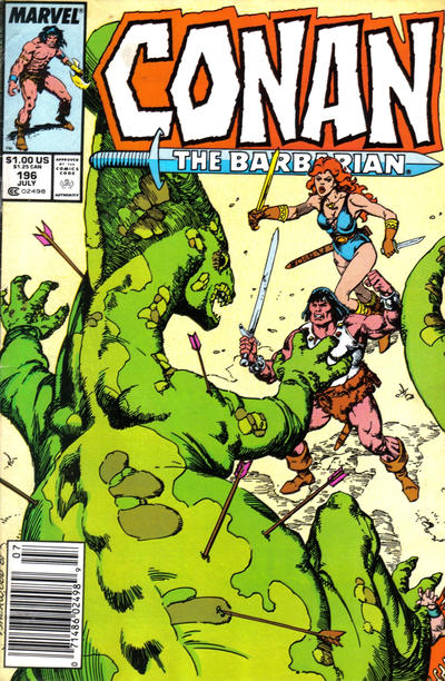 Cover for Conan the Barbarian (Marvel, 1970 series) #196 [Newsstand Edition]