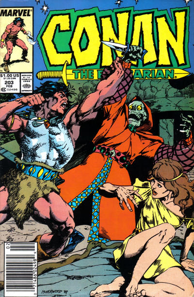 Cover for Conan the Barbarian (Marvel, 1970 series) #203 [Newsstand Edition]