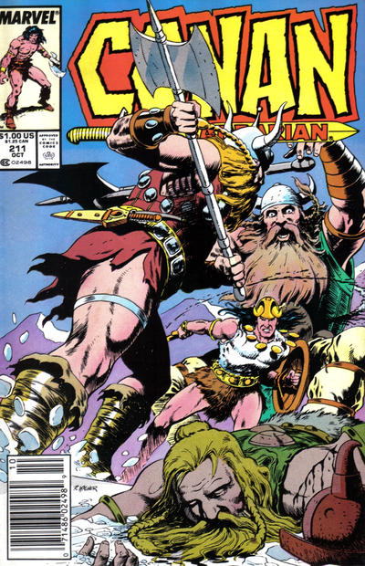 Cover for Conan the Barbarian (Marvel, 1970 series) #211 [Newsstand Edition]