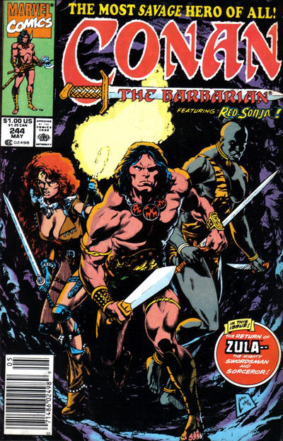Cover for Conan the Barbarian (Marvel, 1970 series) #244 [Direct Edition]