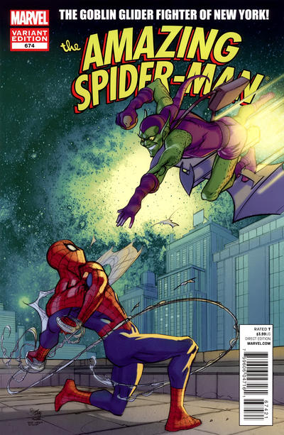 Cover for The Amazing Spider-Man (Marvel, 1999 series) #674 [Direct Market Variant Cover by Pasqual Ferry]