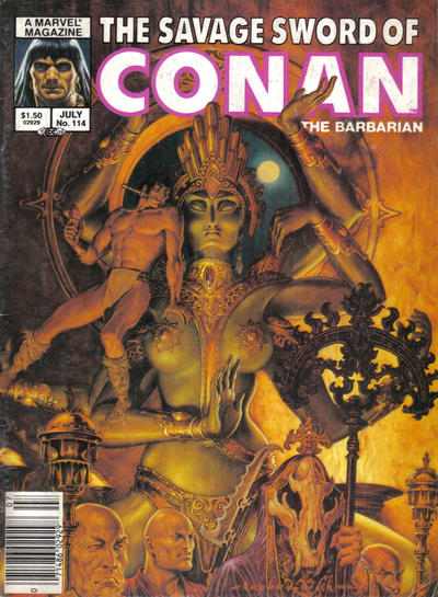 Cover for The Savage Sword of Conan (Marvel, 1974 series) #114 [Newsstand Edition]