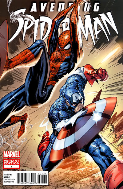 Cover for Avenging Spider-Man (Marvel, 2012 series) #1 [Direct Market Variant Cover by J. Scott Campbell]