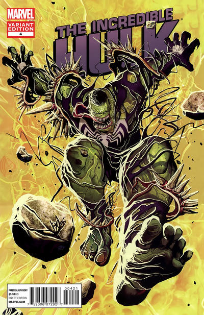 Cover for The Incredible Hulk (Marvel, 2011 series) #4 [Direct Market Venom Variant Cover by José Ladrönn]