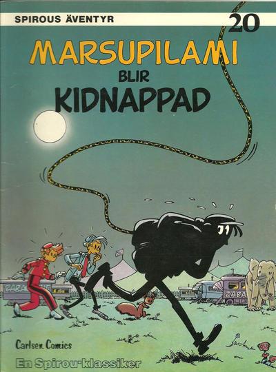 Cover for Spirous äventyr (Carlsen/if [SE], 1974 series) #20 - Marsupilami blir kidnappad [2:a upplagan, 1988]