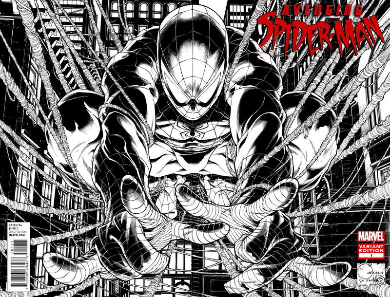 Cover for Avenging Spider-Man (Marvel, 2012 series) #1 [Variant Edition - Joe Quesada Wraparound Sketch Cover]