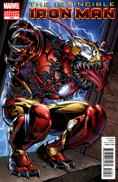 Cover for Invincible Iron Man (Marvel, 2008 series) #512 [Direct Market Venom Variant Cover by Larry Stroman]