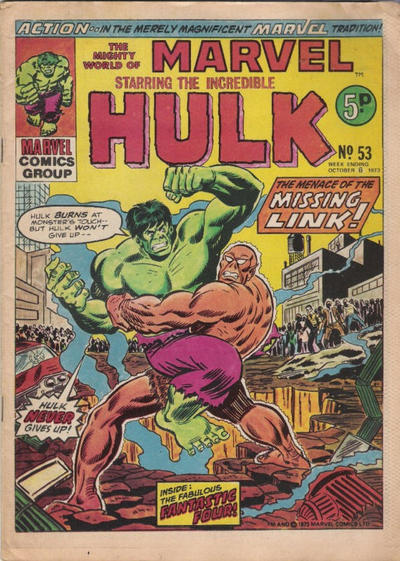 Cover for The Mighty World of Marvel (Marvel UK, 1972 series) #53