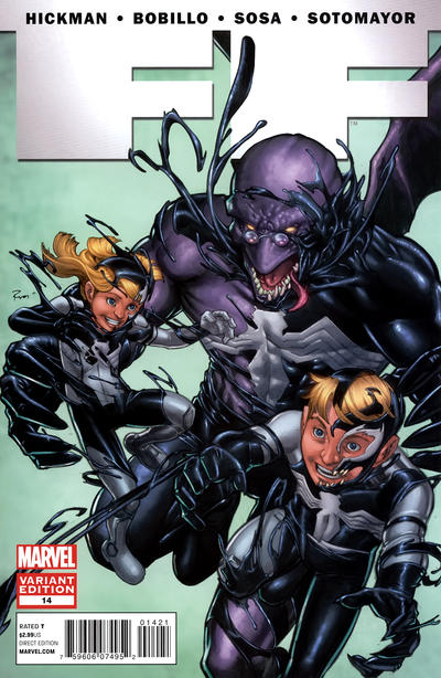 Cover for FF (Marvel, 2011 series) #14 [Direct Market Venom Variant Cover by Michael Ryan]