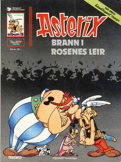 Cover for Asterix (Hjemmet / Egmont, 1969 series) #15 - Brann i rosenes leir [4. opplag Reutsendelse 147 25]