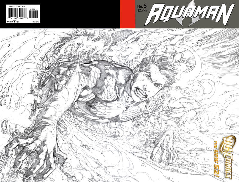 Cover for Aquaman (DC, 2011 series) #5 [Wraparound Sketch Variant Cover]