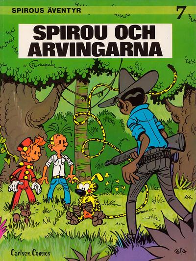 Cover for Spirous äventyr (Carlsen/if [SE], 1974 series) #7 - Spirou och arvingarna [3:e upplagan, 1987]